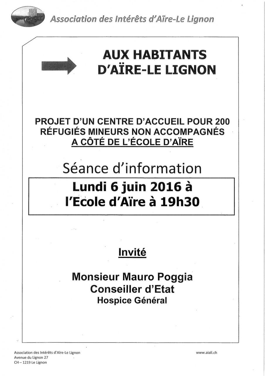 Séance d'information à l'école d'Aïre le Lignon